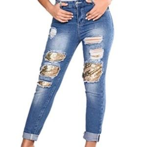 Denim - New Women's Distressed Jeans with Gold Sequin